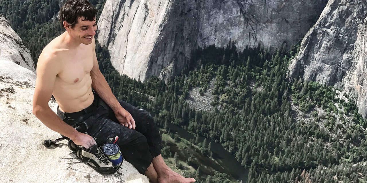 "For a free soloist, finger strength can mean the difference between life and death. Leading up to his climb, Honnold performed a 90-minute ""hangboarding"" routine every other day in his van, which for years has served as a home and mobile base camp. (Jimmy Chin)"