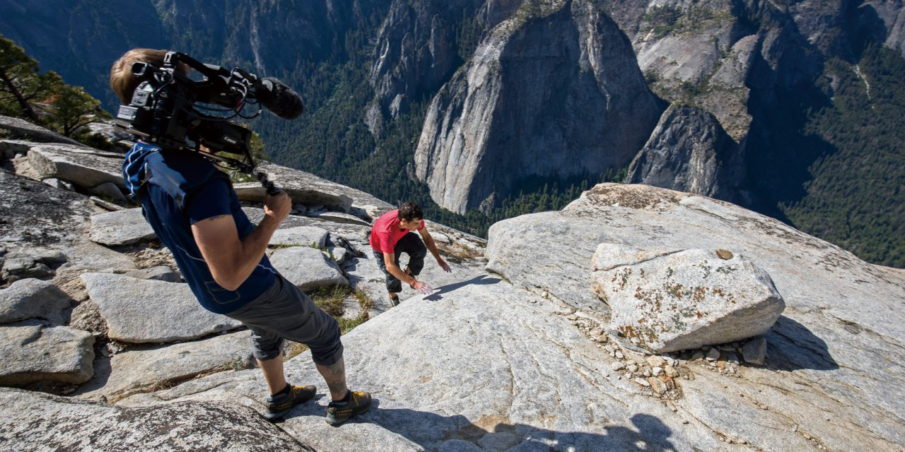 Clair Popkin, Director of Photography on the feature documentary Free Solo, getting the shot of Alex Honnold topping out El Capitan after free soloing the Freerider.