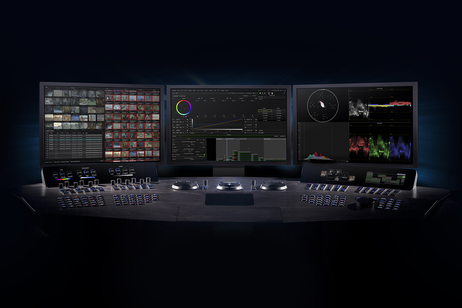 Baselight with three UI monitors and Blackboard 2