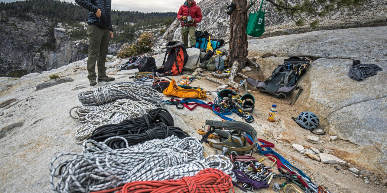 The crew sort and pack up all the ropes and climbing equipment used to document Alex Honnolds free solo climb of El Capitan's Freerider in Yosemite National Park.