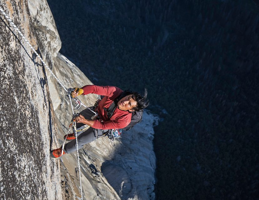 Jimmy Chin poses on a a static rope on El Capitan's Freerider. Image by Cheyne Lempe.