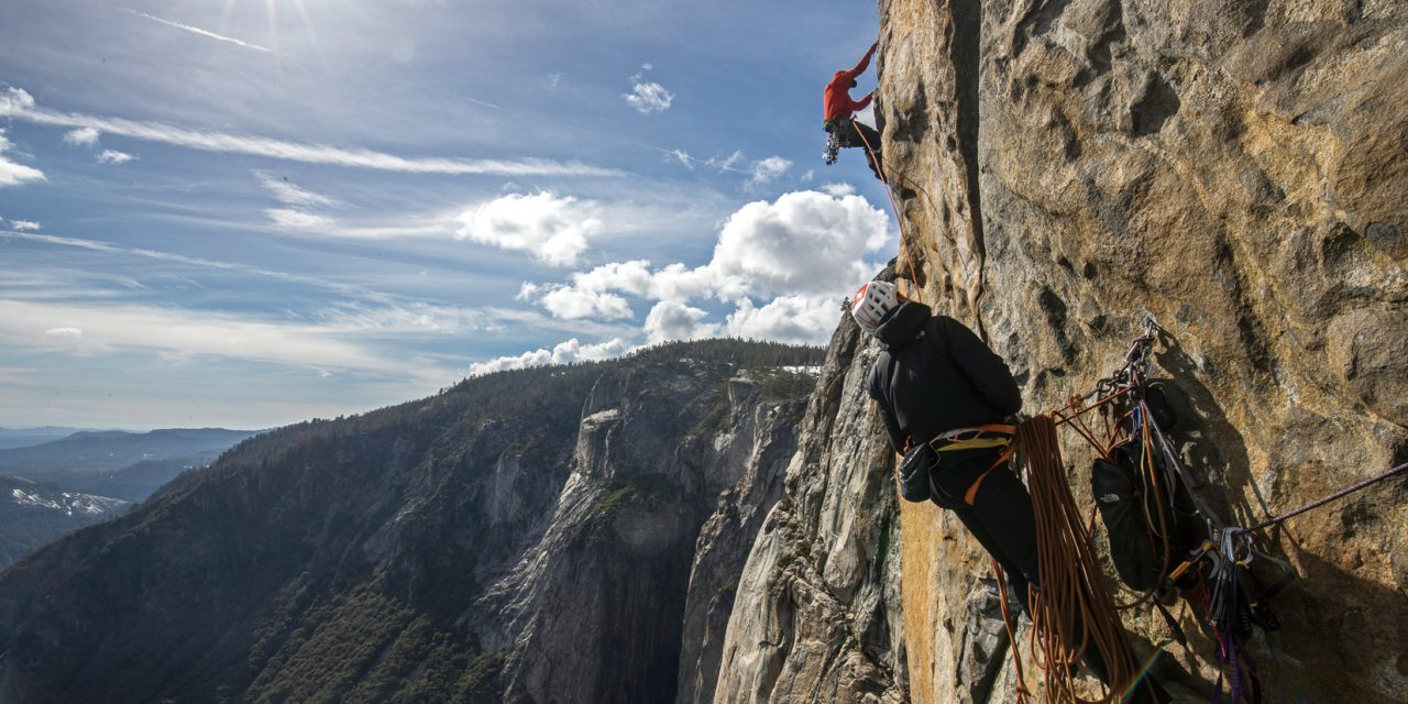Alex Honnold climbs the Salathe Route with Conrad Anker on El Capitan in Yosemite National Park.