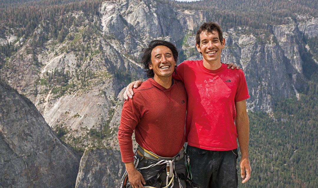 Jimmy Chin and Alex Honnold atop the summit of El Capitan just after Alex solo Freerider. Image by Samuel Crossley.