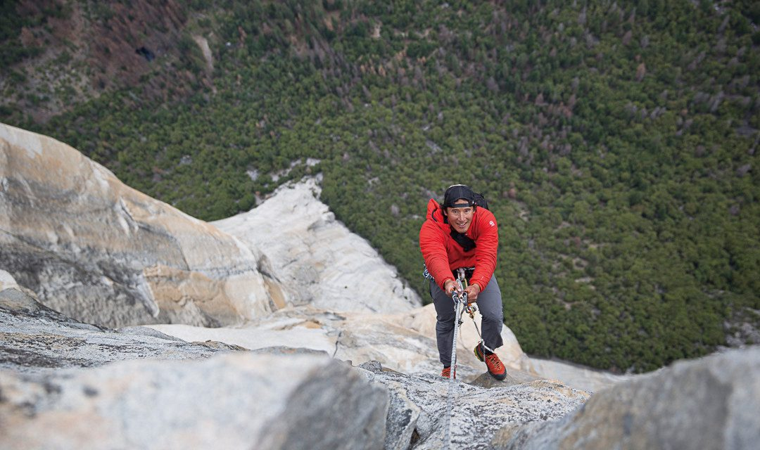 Jimmy Chin ascends a fixed line up Freerider on El Capitan after shooting Alex Honnold. Image by Samuel Crossley